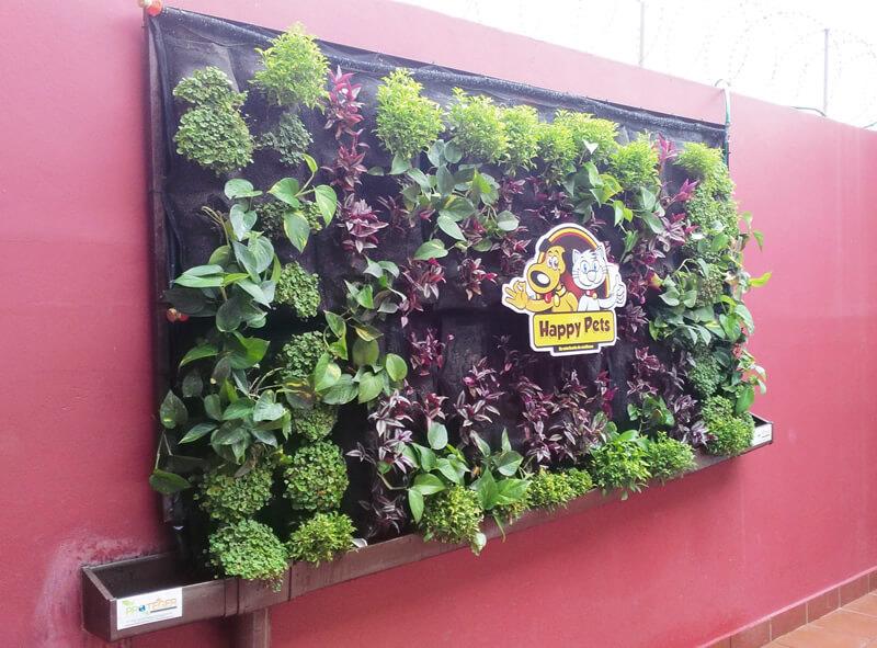 Suministro e Instalación de 2.88 m2 de pared verde en recepción de HAPPY PETS.